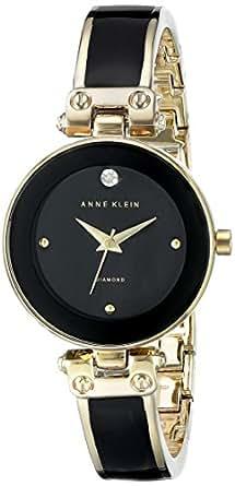 ANNE KLEIN 黑色和 goldtone 钻石表盘手表