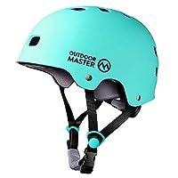 OutdoorMaster 滑板头盔 - CPSC 认证轻质、低剖面滑冰和 BMX 头盔带可拆卸衬里- 12 个通风系统 - 适合儿童、青少年和成人
