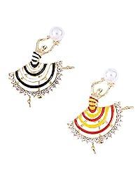 Solememo 复古充气优雅舞蹈女孩水晶水钻胸针 2 件套人造珍珠独特派对服商务礼物