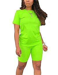 女式彩虹 2 件套 - 休闲短袖 T 恤紧身短裤套装连身裤 (Solid) Neon Green X-Large