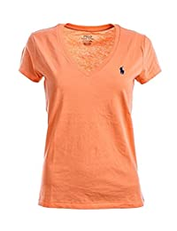 Polo Ralph Lauren 女士小马标志 V 领 T 恤(S 码,橙色)