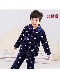 夷榀 秋冬儿童法兰绒睡衣套装女孩男童男孩小孩宝宝珊瑚绒女童装家居服