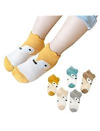 Naturhand 南禾 怪怪兽儿童卡通袜子 薄款网眼棉袜子 小狐狸动物图案透气吸汗 男女童1-10岁短袜 混色5双装