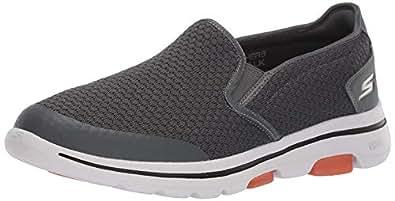 Skechers Men's GO Walk 5-APPRIZE Slip On Trainers, Grey Textile/Synthetic/White Trim Charcoal, 9 (43.5 EU)