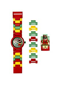 LEGO BATMAN 电影 Robin 儿童迷你人偶表链 buildable 手表   红色/绿色   塑料   28MM 保护套 diameter  ANALOGUE 石英   男孩女孩   官方