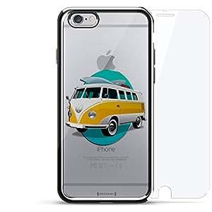 镀铬系列 360 套装:设计师手机壳 + 钢化玻璃 适用于 iPhone 6/6s PlusLUX-I6PLCRM360-BUS1 VW Bus Design 银色