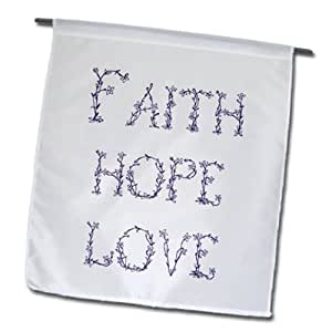 3dRose fl_155886_1 紫色和白色花卉字母信仰、希望和爱心花园旗,30.48 x 45.72 cm