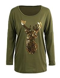 romacci 女式春季长袖圆领亮片驯鹿 T 恤上衣