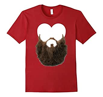 Beard Valentines Day T Shirt with Heart for Men and Boy 蔓越梅色 Male 2XL