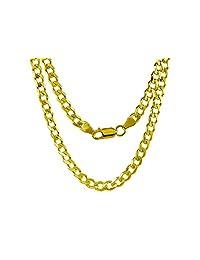 14K 黄金 6.5 毫米立方/圆环链项链 - 意大利制造 - 多种长度可选