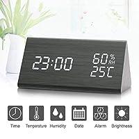 数字闹钟,木制 LED 立方体三件套闹钟,带木制电子 LED 时间显示温度和湿度,适合旅行、儿童卧室、家里、办公室 三角形
