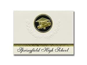 签名公告 Springfield 高中(奥克伦,俄亥俄州)毕业公告,总统风格,基本包装 25 个帽子及证书印章。 黑色和金色。