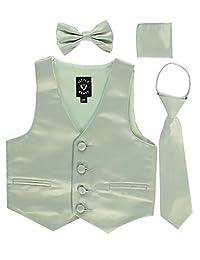 iGirldress 男童 4 件套正式缎面背心套装拉链领结 Hanky
