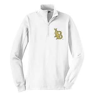 NCAA 长滩州 49Ers 女式 1/4 拉链套头衫,M 码,白色