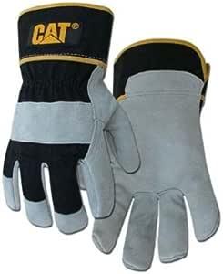 CAT 高级灰色/黑色皮革手掌工作手套 - L 号 # 大 CAT013201L