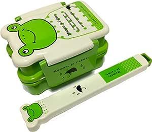 Bring-Your-Own Smiley 青蛙印花便当午餐套装 绿色 Bentobox&Chopsticks