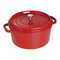 STAUB Cocotte珐琅锅 圆形 带盖 (28 cm, 5,85 L, 适用于感应炉灶, 黑色哑光珐琅内壁) 樱桃红