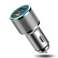 Whirldy 车载充电器 车充头 QC3.0 快充技术 车充 单口2.4A输出 大功率 30W 点烟器 双USB口 多功能汽车点烟器头 一拖二 手机平板通用 合金机身(星空灰)
