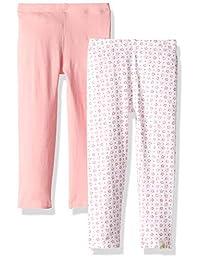 Burt's Bees 女婴幼儿紧身裤,有机棉无脚,有弹性,套穿裤子-2 件装 Water Lily/Dotty Flowers 2-pk 2T