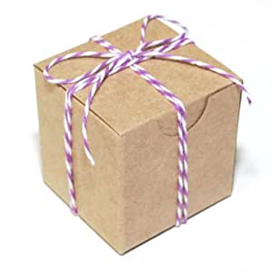Dress My Cupcake Kraft 25-Pack Favor Boxes and Twine DIY Kit, 2-Inch, Purple