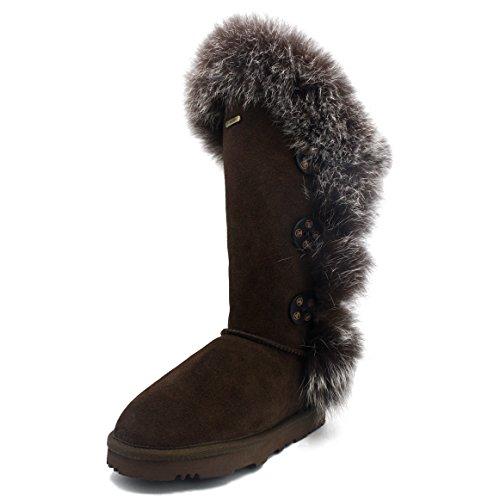 K.Signatureブランド钜包邮GRACE(グレース)冬の女性のキツネの毛皮の革純粋なウールのファッション高い毛皮の雪のブーツ