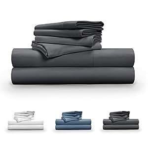 Pillow Guy 奢华柔软光滑的天丝 6 件套床单套装 炭黑色 King PG-TCSS-CH-K