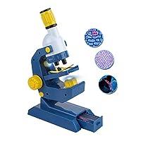 儿童显微镜 100X,400X 和 1200 倍放大带滑轨,儿童教育科学玩具,幼儿学前科学套件,蓝色/黄色