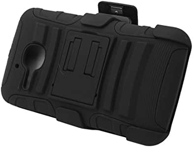 EAGLECELL Xtreme Rugged Armor Case w/Holster & Swivel Belt Clip Combination for Alcatel One Touch Evolve [T-Mobile] 黑色/黑色