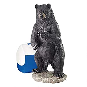 Design Toscano Fishing for Trouble Bear Statue 黑色 大