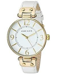 ANNE KLEIN 女士 109168WTWT 金色調手表搭配白色皮革表帶,White,One Size