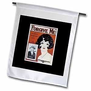 3dRose Forgive Me Song 床单套复制品 带尤克里里排列花园旗帜,30.48 x 45.72 cm