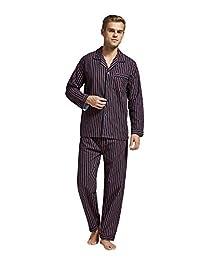 男式法兰绒睡衣套装100% 棉质长袖睡衣从 Tony & candice
