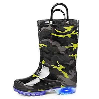 K KomForme 儿童雨靴,防水发光靴,易穿手柄 迷彩色 13 Little Kid