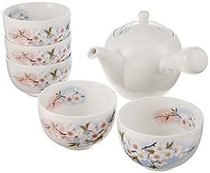 ALE-NET 美浓烧 淡墨樱花 小茶壶茶具套组 5客 茶具组合