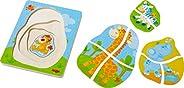 HABA 303382 – 木质拼图 野生动物 World,4 层,10 层拼图 木玩具 带有可爱设计的动物图案 玩具,2岁以上