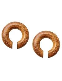 Pierced Owl 手工制作*杰克果实木环形耳环,成对出售