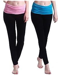 HDE 女式孕妇瑜伽裤修身喇叭翻折孕妇打底裤 2 条装(黑色带粉色和蓝色)
