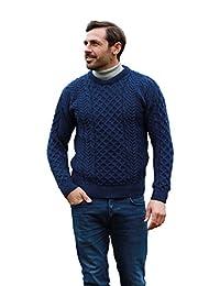 传统羊毛圆领 Aran 毛衣