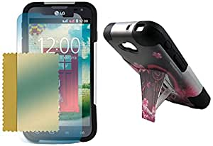 Maxtron for LG Optimus L90 D415 Hybrid Hard T-Stand Dual Armor Case Cover Screen Protector - Non-Retail Packaging - Heart