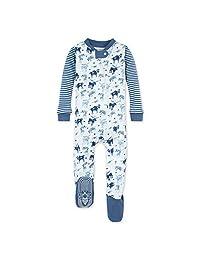 Burt's Bees 婴儿男孩中性睡衣,前拉链防滑连脚睡衣,*棉,鹿角家庭,18 个月