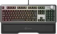 QPAD MK-95 专业游戏高级Opto 机械键盘,Opto 机械键盘,带2合1Q开关(线性红色和时钟,带点击蓝色),RGB LED照明,北欧QWERTY NC 布局,煤黑色