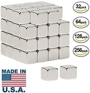 "Magnetozo - 美国制造 5x5mm 1/5""x1/5"" 英寸方块磁铁 银色"