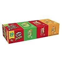 Pringles 馬鈴薯薯片,多種口味包裝,原味,切達干酪,酸奶油和洋蔥,Grab and Go,13.7盎司(387.71克)(10盒)