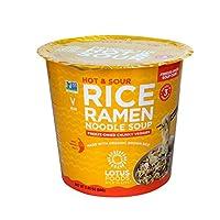 Lotus Foods Hot & Sour 米饭 Ramen 面条汤杯 带冻干粗蔬菜,2.05盎司,6只装