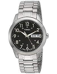 Timex Male 银色模拟扩展带礼服手表T2M932 analog 不锈钢 银色 T2M9329J watches