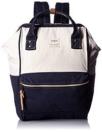anello 官方 金属扣帆布背包 AT-B0931A CNV (白色×海军色)