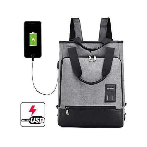 1キャリングの方法Usbバックパック、ショルダーバッグBバックパックハンドバッグ、男女兼用、ダブルジッパー付き20-35リットルビッグバッグ、学生用バッグ、ノートパソコン用バッグ、グレーUSB-bag-001 15.6 '