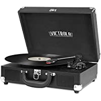 Innovative Technology ITVS-550BT Nostalgic 3-Speed Vintage Bluetooth Suitcase Turntable, Black