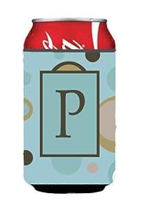 字母 P 首字母交织字母 - 蓝色圆点罐或瓶子饮料隔热器 Hugger