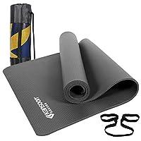 KANSOON凯速高密度高品质超厚10MM 瑜伽垫升级NBR加宽加长灰色横纹环保防滑家用健身瑜伽垫EA033带黑色网袋